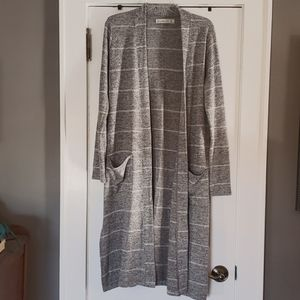 Heather grey duster with white stripes.